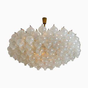 Large Tulip Flush Mount Chandelier with 127 Glasses and Brass by J.T. Kalmar, 1970s