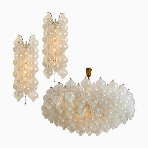 Glass and Brass Tulip Light Fixtures by J.T. Kalmar, 1970s, Set of 3