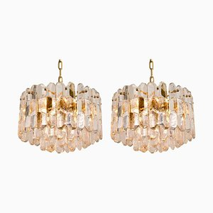 Gilt Brass and Glass Palazzo Chandeliers or Pendants by J.T. Kalmar, 1970s, Set of 2