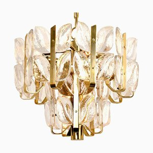 Crystal Glass and Brass Florida Chandelier or Pendant by J.T. Kalmar, 1960s