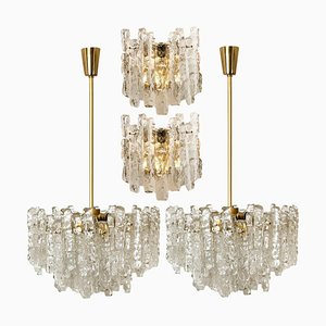 Ice Glass Light Fixtures by J.T. Kalmar, 1960s, Set of 4
