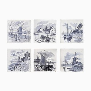 Dutch Blue Glazed Ceramic Tiles by Le Glaive, 1930s, Set of 6