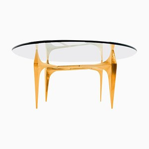 Sculptural Brass Coffee or Side Table by Knut Hesterberg, 1960s