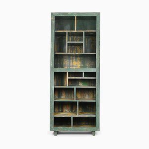 Weathered Wooden Shelf with 17 Compartments, 1940s