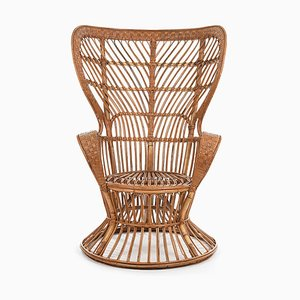Vintage Rattan Armchair by Gio Ponti