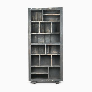 Shelf in Patinated Wood with 15 Compartments, 1940s