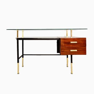 Italian Desk with Glass Top, 1950s