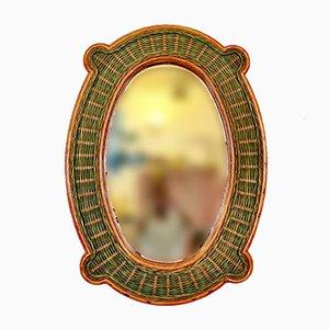 Italian Rattan Mirror, 1970s