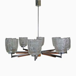 Large Mid-Century Teak and Frosted Glass Chandelier, 1960s