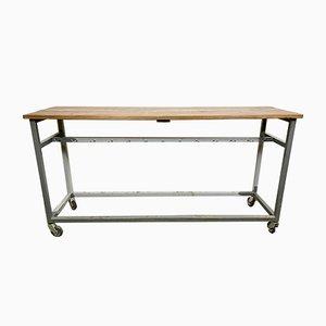 Industrieller Grauer Vintage Werktisch auf Rollen, 1960er
