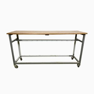 Vintage Industrial Gray Worktable on Wheels, 1960s
