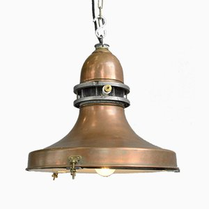 Vintage Industrial Swedish Copper Pendant Lamp, 1920s