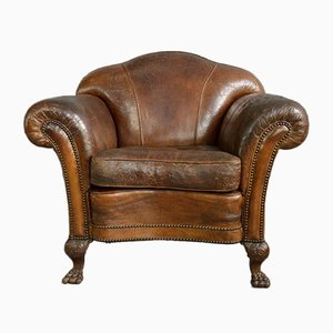 Large Antique Leather Club Chair