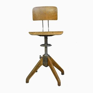 Vintage Industrial Factory Stool by Robert Wagner for Rowac, 1930s