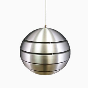 Vintage Danish Round Silver Metal Ceiling Lamp, 1970s