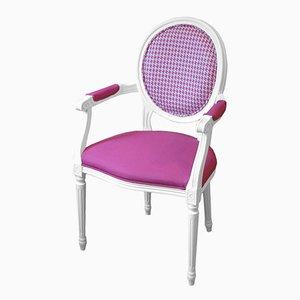 Sedia in faggio curvato bianco con rivestimento Designers Guild di Photoliu