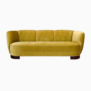 Art Deco Danish Yellow Velour 3-Seater Banana Sofa Settee