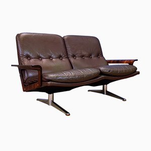 Mid-Century Danish Brown Leather and Rosewood 2-Seater Sofa by Werner Langenberg for ESA, 1960s