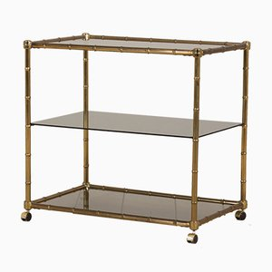 Hollywood Regency Faux Bamboo Brass Bar Cart Trolley with 3 Shelves, Italy, 1970s