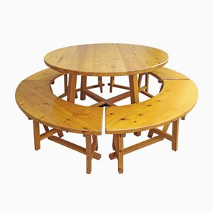 Round Dining Table and Bench Set, 1970s