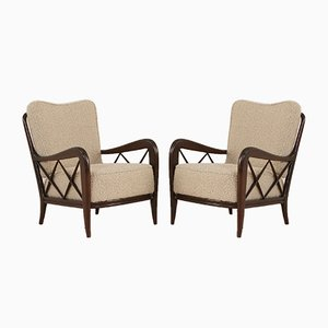 Lounge Chairs in Alpaca Boucle Wool Upholstery by Paolo Buffa, 1950s, Set of 2