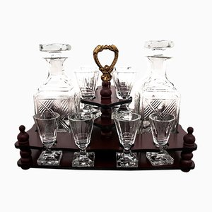 Antique Decanters and Glasses Set in a Chest, 1890s