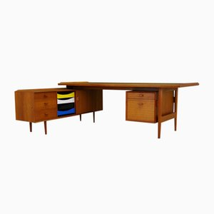 Mid-Century Danish Teak Desk and Sideboard Set by Arne Vodder for Sibast, 1960s