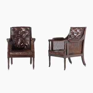 19th Century Regency Mahogany Bergère Armchairs, Set of 2