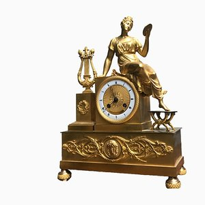 Empire French Mercury Gilded Bronze Clock with Mythological Scene