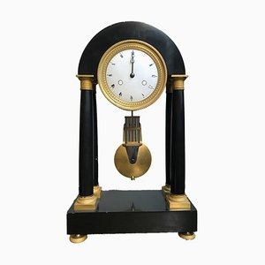 Antique Empire French Black Marble and Mercury Gilded Column Mantle Clock