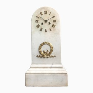 Empire Regency French Bronze and White Marble Pendulum Mantel Clock