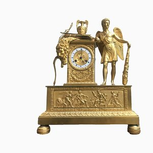 Antique Empire French Ormolu Bronze Mercury Gilded Mantel Clock with Mythological Scenes