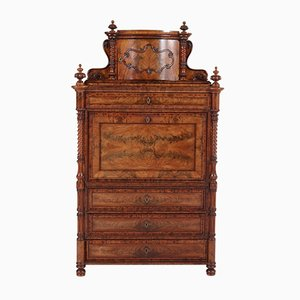 Antique German Mahogany Secretaire Abattant or Drop-Front Desk, 1870s