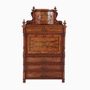 Antique German Mahogany Secretaire Abattant or Drop-Front Desk, 1870s