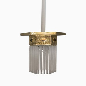 Jugendstil Ceiling Lamp with Opaline Glass and Glass Sticks, Vienna, 1908