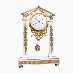 Antique Louis XVI French White Marble Mercury Gilded Column Mantle Clock