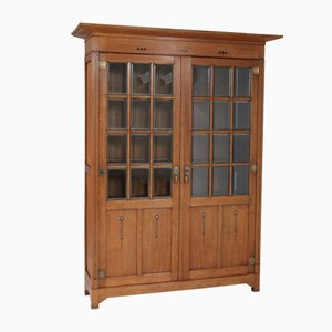 Large Oak Art Nouveau Arts & Crafts Bookcase, 1900s