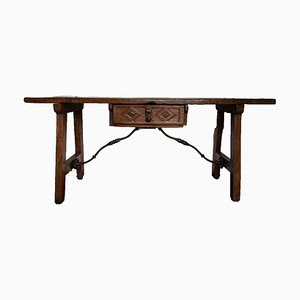Antique Renaissance Style Spanish Wrought Iron Side Table