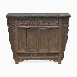 Antique Chinese Side Cabinet with Carved Drawers
