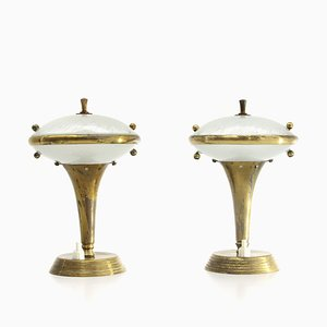 Italian Brass and Glass Table Lamps, 1950s, Set of 2