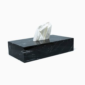 Schwarze Tissue Box aus Marmor von Fiammettav Home Collection
