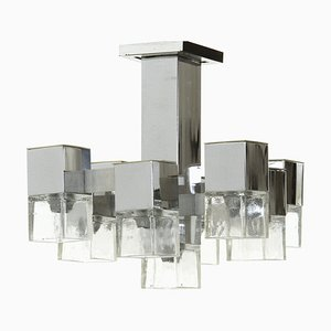 Italian Brass 14-Light Ceiling Lamp, 1970s