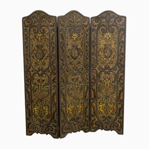 Victorian Embossed Leather Room Divider