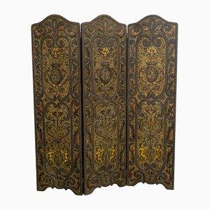 Viktorianischer Raumteiler aus geprägtem Leder