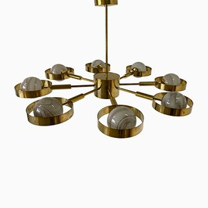 Mid-Century Style Brass and Murano Glass Chandelier, 2000s