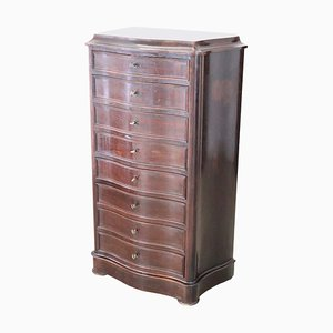 Antique Rosewood Tall Chest of Drawers with Marble Top, 1850s