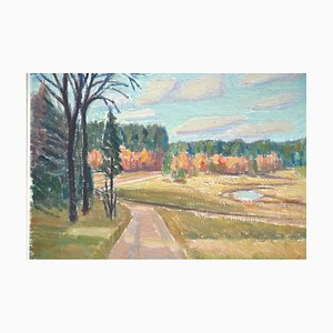 Vintage Autumn Oil Painting on Hardboard by Hellsing, Sweden, 1950s