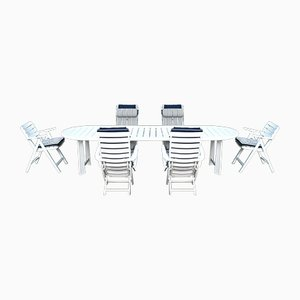 French Outdoor Folding Table & Chairs Set from Triconfort, 1990s, Set of 7
