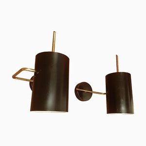 Scandinavian Modern Metal and Brass Sconces, 1950s, Set of 2