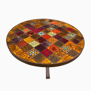 Round Coffee Table in Ceramic and Wrought Iron from Roche Bobois, 1970s